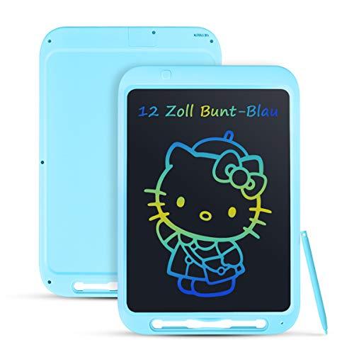 Funkprofi Bunte 12 Zoll LCD Writing Tablet mit Anti-Clearance Funktion und Dicke Linien, LCD Schreibtafel, Grafiktabletts Schreibplatte Papierlos für Schreiben Malen Notizen als Geschenk (Blau)