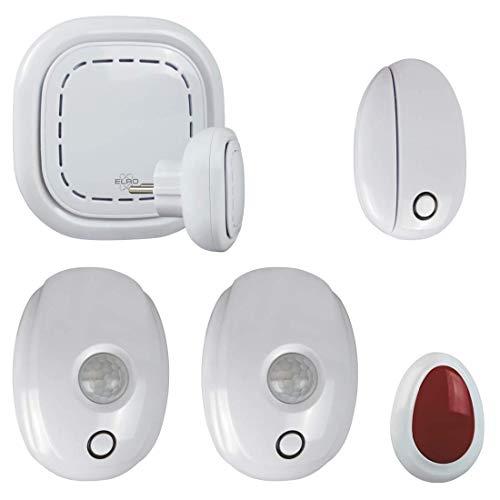 ELRO Connects SF400A WiFi Kit-Komplettes Smart Home Alarm Set K1 Connector (integrierte Sirene) + 2X Bewegungsmelder Tür Fensterkontakt + 1x Paniktaster-Gratis App