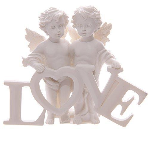 Puckator CHE82 - Estatuilla Decorativa diseño de ángeles sujetando la Palabra Love