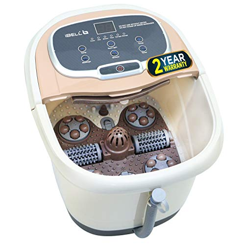 iBELL FTM500A Foot Spa Massager Machine with Auto-Rollers, Digital Panel,Temperature Control, Bubble Bath & Water Heating Technology for Pedicure, Pain relief & Relaxation, Brown