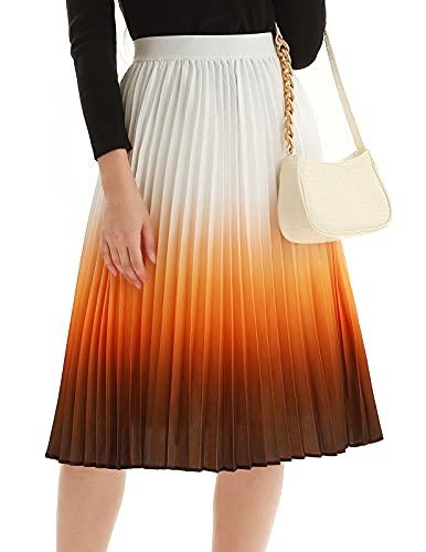 Women's Pleated Skirts High Waist Aline Gradient Midi Skirt for Fall(Gradient Orange,M)