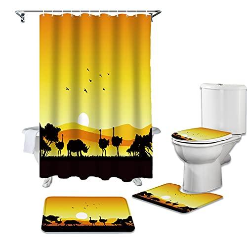 CKKHYCD Duschvorhang 4er-Set Sonnenuntergang Strauß Nashorn wasserdicht Duschvorhang WC-Abdeckung Konturmatte Badezimmer rutschfesten Teppich