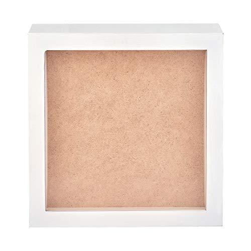 BENECREAT Cornice 3D Profonda Cornice in Legno Bianco 22.85x22.9cm con Frontale in Vetro Organico per Appendere A Parete e Display da Tavolo