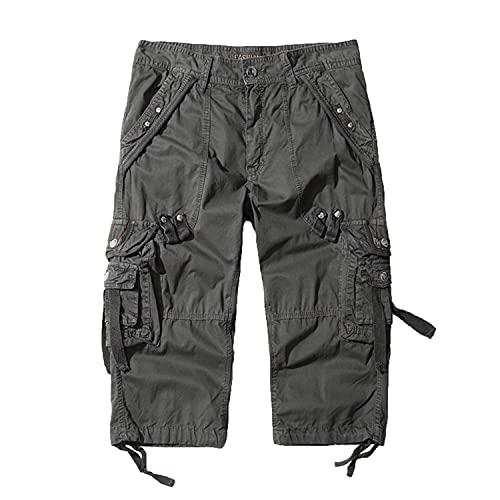Herren 3/4 Baumwolle Capri Cargo Shorts...