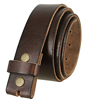 "BS040 One Piece Genuine Full Grain Leather 1-1/2"" wide Replacement Belt Strap with Snaps on for Women (Brown, 32)"