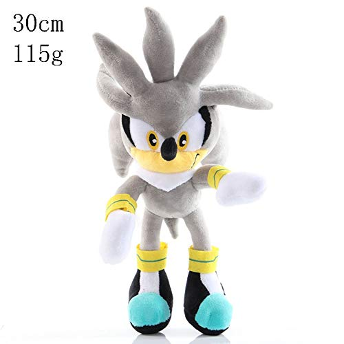 HHtoy 26cm Plata The Hedgehog Juguetes de Peluche de Sonic The Hedgehog Anime Figuras Relleno Suave muñeca 3+ niños cumpleaños