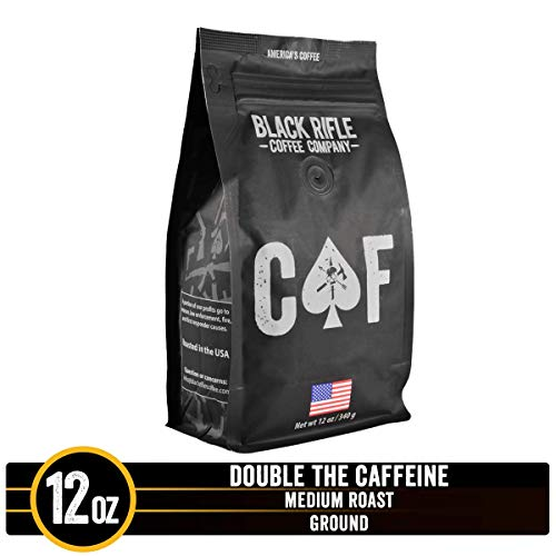 CAF Caffeinated As [Redacted] Medium Roast Extra Caffeine Ground Coffee by Black Rifle Coffee Company | 12 oz Bag of Premium Gourmet Specialty Coffee | Perfect Coffee Lovers Gift