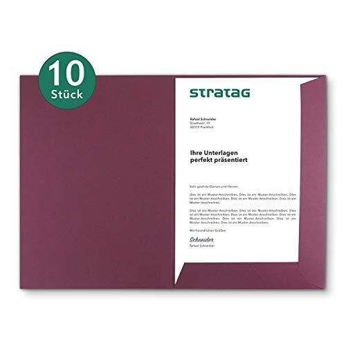 Präsentationsmappe A4 in Bordeaux 10 Stück (wählbar) - erhältlich in 7 Farben - direkt vom Hersteller STRATAG - vielseitig einsetzbar für Ihre Angebote, Exposés, Projekte oder Geschäftsberichte