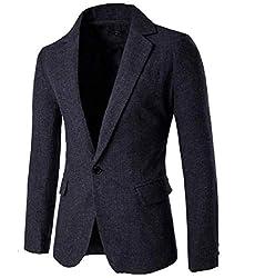 DUeeMen Notch Lapel Woolen One Button Solid Fitted Travel Blazer