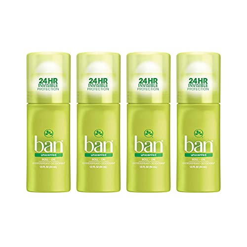 Ban Unscented 24-hour Invisible Antiperspirant, Travel Size Roll-on Deodorant for Women and Men, Hypoallergenic, For Sensitive Skin, Paraben Free, Cruelty Free, Sulfate Free, 1.5oz, 4-pack - SET OF 10