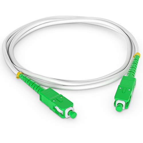 Octofibre Optisches Kabel SC-APC auf SC-APC (optischer Kabel) für Box Orange Live Box, SFR, Boxe Faser, Bouygues Telecom, Bbox Mobistar (20 m) Weiß