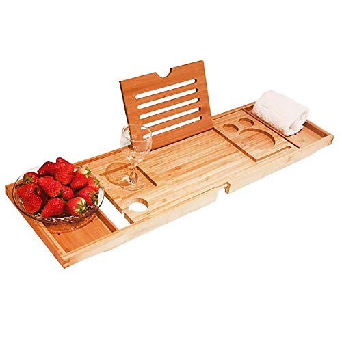 Verstelbare bamboe badcaddy-lade, bamboe-badcaddy Bridge-plank met boek- of tabletstandaard, dienblad voor badkuip, uitschuifbare badkamerplank voor handdoeken (75-95)