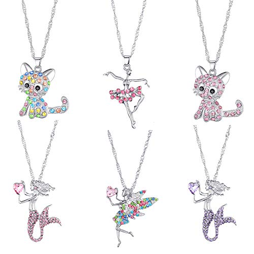6 Pcs Cute Necklaces for Girls Kids Birthday Gift Pack-Cat Pendant Necklace for Little Girls-Fairy Necklace for Teens Girls-Mermaid Necklace for Girls-Ballerina Recital Gifts for Teen Girls Trend
