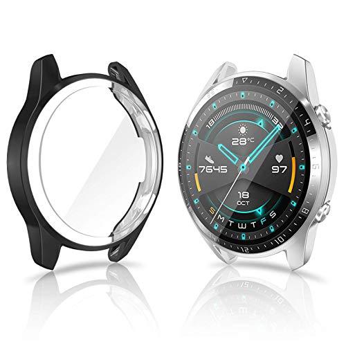 CAVN Hülle Kompatibel mit Huawei Watch GT 2 46mm Schutzhülle Schutzfolie [2-Stück], (Nicht für GT 2 Pro & GT) Flexibles TPU Vollschutz Displayschutzfolie Kratzfest Displayschutz Schutz Hülle Gehäuse