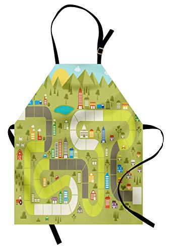 ABAKUHAUS Bordspel Keukenschort, Gebouwen Cars Mountain, Unisex Keukenschort met Verstelbare Nekband voor Koken en Tuinieren, Veelkleurig