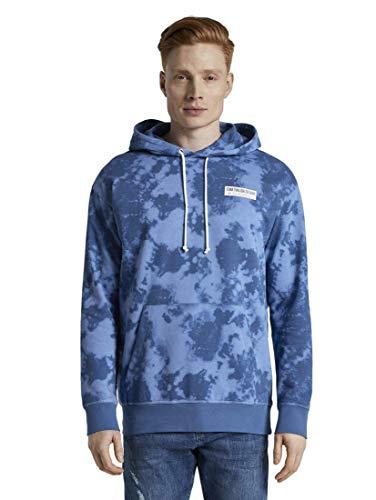 TOM TAILOR Denim Strick & Sweatshirts Hoodie im Batik-Look Blue Big Batik Print, M, 22352, 6000