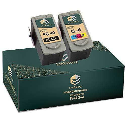 EMBRIIO PG-40 CL-41 Cartuchos de Tinta Reemplazo para Canon Pixma iP2600 MP140 MP460 iP1800 iP1900 iP2500 MP190 MP210 MP220 MP170 MP180 MP160 MP450 MP470 MP150 MX300 MX310 iP1200 iP1600 iP2200
