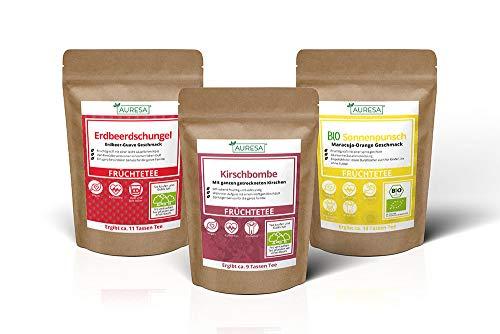 AURESA Obstkorb Tee Set | 3 sensationelle Früchtetee Sorten 100% Koffeinfrei | Heiß und kalt ein absoluter Genuss
