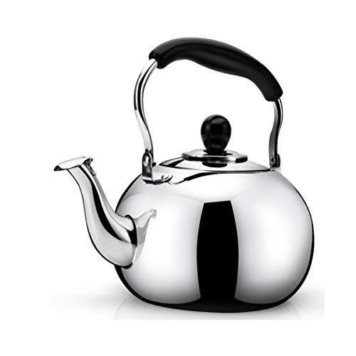 YMSH Stainless Steel Kettle Whistling Kettle Gas Gas Induction Cooker Universal 4L 5L.Silver (Color : Silver, Size : 4L)