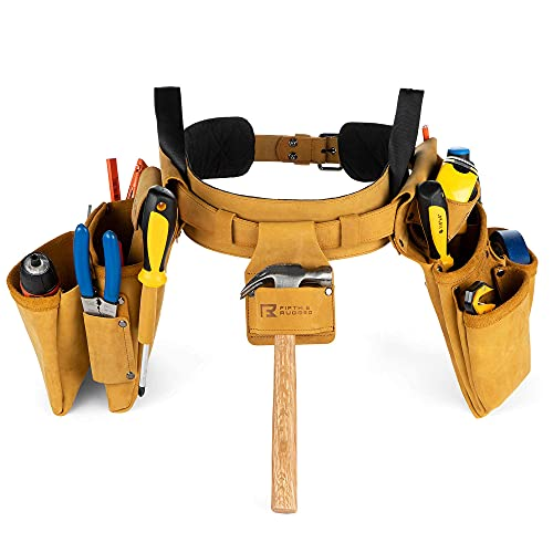 Fifth & Rugged Leather Tool Belt, Full-Grain leather, Fits Waist Sizes 30-inch to 45-inch - Construction Tool Belts for Carpenters, Electricians, and Framers