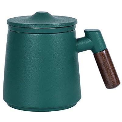 Sandalwood handle Tea Mug,Porcelain Tea Mug with Infuser and Lid,13.5 oz