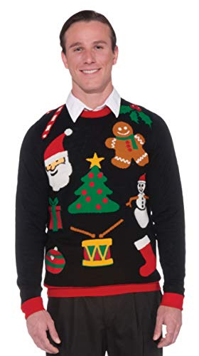 Forum Novelties Adult All Wrapped Up Ugly Christmas Sweater, black, Large