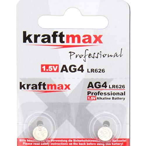 kraftmax 2er Pack Knopfzelle Typ 377 (AG4 / LR626 / LR66) Hochleistungs- Batterie / 1,5V Uhrenbatterie für professionelle Anwendungen - Neuste Generation