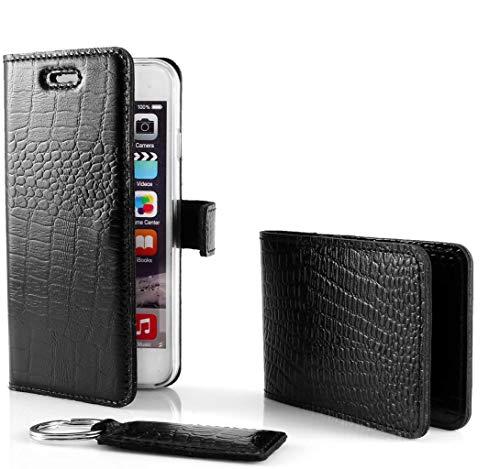 SURAZO Cayme - Leder Geschenkset Handy Schutzhülle, Card Holder, Schlüsselring - Farbe Schwarz Vintage Kollektion für Microsoft Lumia 950 XL
