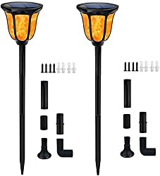 Solar Lights Outdoor Flickering Flames Solar Torches Landscape Solar Torch Light Lighting Dusk to Dawn Auto On/Off Outdoor Solar Pathway Lights for Patio Yard Deck Pool Decor 2 Packs