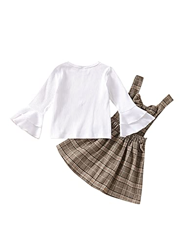 YILEEGOO Conjunto de 2 piezas para niñas, parte superior de punto de canalé de manga campana + falda a cuadros, Blanco caqui, 2-3 Años