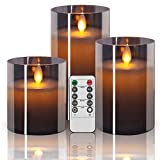 Sayornis Flickering Flameless Candles, 3 PCs LED Candles with Remote Control and Timer, Battery Operated Fake Candles Pillar 4, 5, 6-Inch, for Indoor Outdoor Dinner Decoration Weddings,Grey Glass…