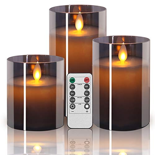 Sayornis Flickering Flameless Candles, 3 PCs LED Candles with Remote Control and Timer, Battery Operated Fake Candles Pillar 4, 5, 6-Inch, for Indoor Outdoor Dinner Decoration Weddings,Grey Glass