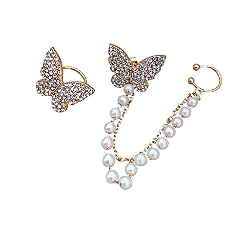 feilai Pendientes de tuerca de mariposa de diamantes de imitación, pendientes de huesos de oreja para mujeres y niñas, cadena de metal de moda (color de metal: oro 1)