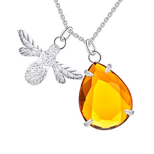 FJ Damen Honig und Biene Halskette 925er Sterling Silber, Erstellt Bernstein Kristall Honig Anhänger Tier Halskette