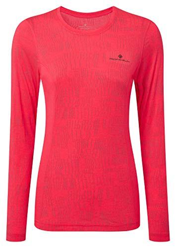 Ronhill Momentum Afterlight L/S T-Shirt de Course à Pied à Manches Longues et col Rond avec réflectivité pour Femme, Femme, RH-004430, Rose Vif/réfléchissant, 40