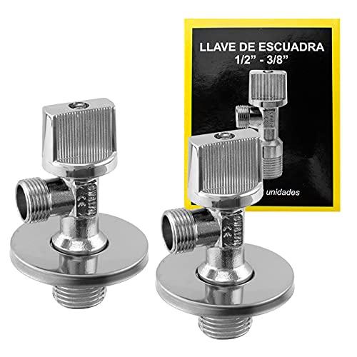 Llave de escuadra 1/2 3/8, válvula de ángulo de latón cromada color plata, 2 llaves de escuadra conexión rosca macho, mando BS, uso doméstico y profesional (1/2-3/8)