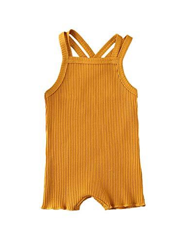 Säuglingsbaby Jungen Mädchen Sommerkleidung Gerippte Ärmellose Strampler Bodysuit Solide Jumpsuit Pyjamas Outfits (Brownish Yellow, 6-12 Months)