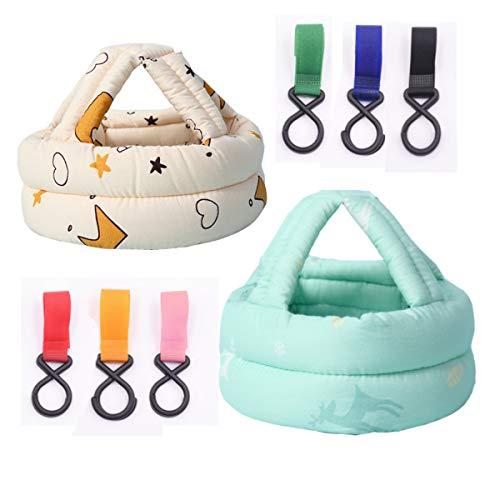 Xumier 8pcs Schutzhelm Säugling Kopfschutzmütze Kopfschutzmütze Kinder baby helm schutz baby helmet safety baby schutzhelm säuglinge 360°Anti-Kollision Kopfschutzkappe + Kinderwagenhaken