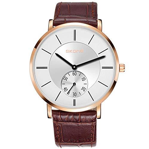 Armbanduhr,Casual Lederband Quarzuhr Modetrend Ultradünne wasserdichte Uhr, Rose Gold Shell Kaffee Gürtel