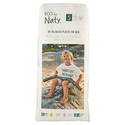 Eco by Naty, pannolini usa e getta per pelli sensibili, taglia 5, confezione da 1 x 40 (40 pezzi) – Pannolino ecologico a base vegetale con 0% di plastica olio sulla pelle