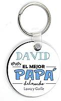 Kembilove Llavero Padre Personalizado con nombre - Llavero Redondo Eres el Mejor Papà del Mundo - Regalos Originales...