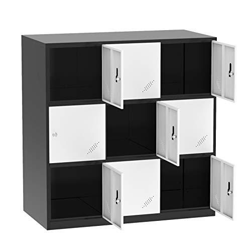 Bonnlo Metal Locker Storage Cabinet Office Lockers for Employees Kids Break Room Dormitory Steel Organizer with 9 Doors & Keys