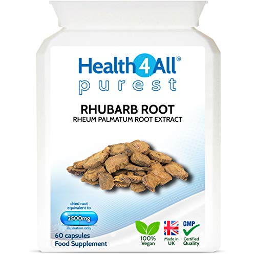 Rhubarb Root 2500mg 60 Capsules (V) Purest- no additives. Natural Laxative Supplement. Vegan. Made by Health4All