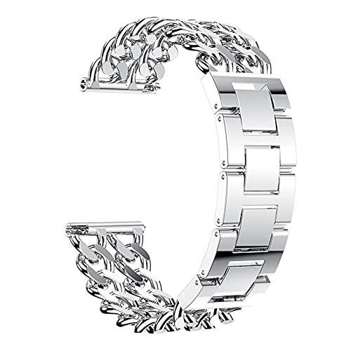 YLB - Pulsera de acero inoxidable compatible con Versa 2/Versa/Versa Lite, correas de repuesto de metal, correa de reloj transpirable, compatible con Versa 2, negro (color plateado)