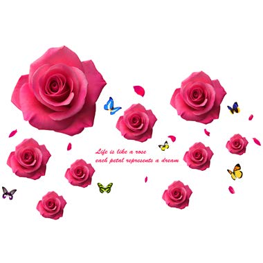 SPFOZ Haus Dekoration [Shijuekongjian] Cartoon Little Angels-Wand-Aufkleber-Vinyl DIY Rote Rosen-Blumen-Wand-Abziehbilder for Wohnzimmer Schlafzimmer Dekoration (Color : Rose Sticker)