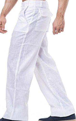 KDWN - Pantalón de lino para tiempo libre, disponible en negro o blanco Blanco S