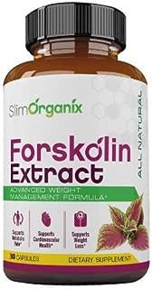 Slim Organix Forskolin- Maximum Strength Fat Burner- 100% Natural, Pure, Potent Ingredients(Best Coleus Forskohlii on The Market) - Safe Weight Loss Supplement for Women & Men- 30 Capsules