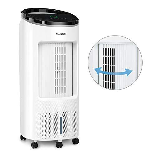 Klarstein IceWind Plus Luftkühler mit 65 W und 330 m³/h Luftdurchsatz, 7 L Wassertank, Timer, Internal Oscillation System, 3 Windarten, Touch-Display, inkl. Fernbedienung und 2 Kühlakkus, weiß