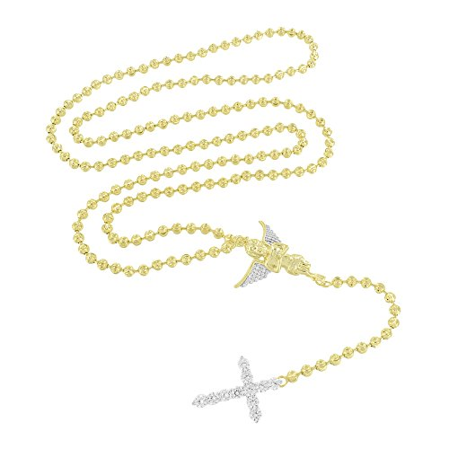 Master Of Bling Rosary Angel Cross Necklace Bead Link Gold Over 925 Silver Simulated Diamonds