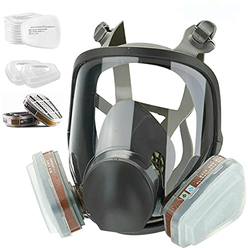 JOEAIS 15 in 1 Full Face Large Size Respirator,Reusable Full Face Cover ,Wide Field of View,Widely Used in ,Paint spary, Decoration Work,Welding